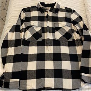 J crew black and white flannel zip siz XS